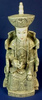 "Vintage Chinese Carved Ox Bone ""Emperor Empress"" Figurines"