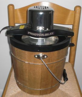 Vtg Proctor Silex Electric Ice Cream Maker Freezer 4 QT Wood Plastic