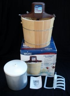 Rival Electric Ice Cream Maker Wood Bucket 5 Qts