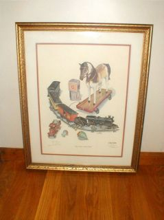 Don Ensor Print Toy Train Horse Signed Best Wishes Framed