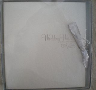 Wedding Wishes Memory Book Silver Bow Blank Pages