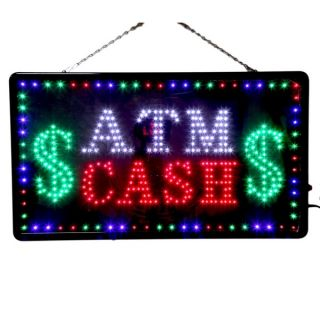 Large LED ATM $ Cash Business Sign with Motion Switch 27 2x15 5 USA