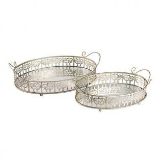 Lasko Silvertone Metal Glass Mirror Trays   Set of 2