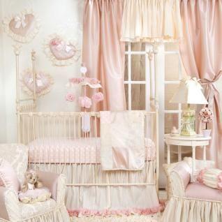 Elegant Designer Pink Floral Patchwork Baby Girl Nursery 3pc Crib