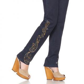 Diane Gilman DG2 Stud and Jeweled Embroidered Skinny Jeans