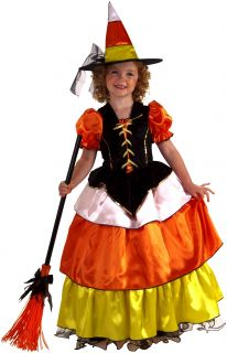 Girls Cute Candy Corn Witch Kids Halloween Costume