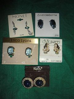 Earrings Lot Monet Napier Liz Claiborne Erica Lyons Rhinestones Pearl