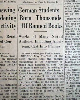 Germany Nazis Students Book Burnings Jewish Jews Holocaust Berlin 1933