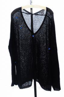 Chelsea Theodore XL 16 18 Black Cashmere V Neck Pullover Sweater Top $