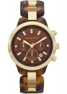 New Michael Kors Womens Brown Dial Chronograph Tortoise Watch MK5609