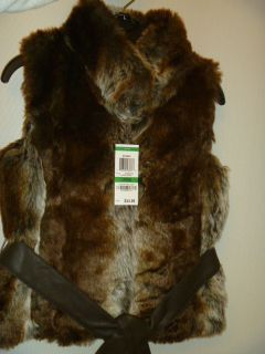 Epic Threads Girls Faux Fur Belted Long Vest Barrel Brown L 14