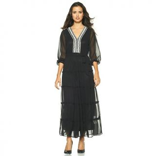 American Glamour Badgley Mischka Chiffon Maxi Dress with Beads