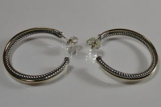 18ky gold sterling silver extra large 3mm crossover hoop earrings