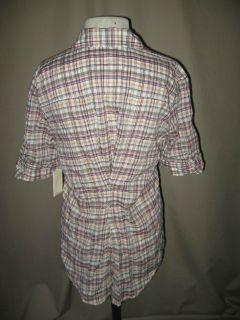ELIZABETH AND JAMES Multi Color Plaid Short Sleeve Shirt w Button Back
