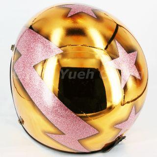 Motorcycle Street Open Face Helmet Mirror Gold Chrome Metalflake