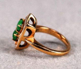 Vintage Jade and Enamel Ladies 14k Yellow Gold Ring Ring Size 3