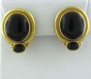 Elizabeth Locke 18K Yellow Gold Onyx Cabochon Earrings