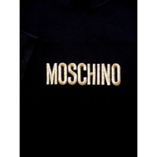 Moschino Embroidered Logo Cotton Tee Shirt Top Black Gold L