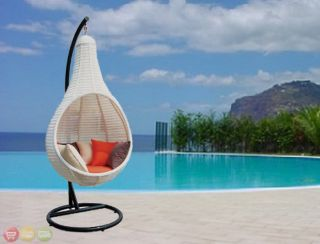 Outdoor Wicker Patio Furniture Round Hanging Chair New CW 7841
