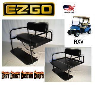 EZGO RXV Golf Cart Rear Flip Down Seat Kit Black Fast