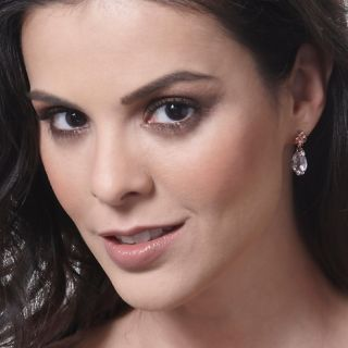 Victoria Wieck Pear Shaped Pink Amethyst Drop Earrings at