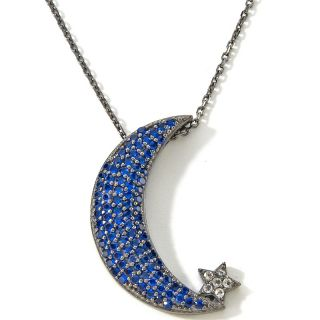 75ct Created Blue Spinel and White Topaz Crescent Moon Pendant wi