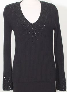 Ellen Tracy Black Silk Cashmere Bead Sweater L Sequin