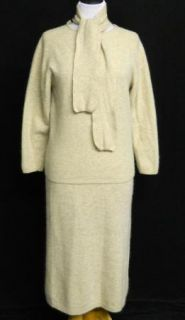 Vtg Ellen Tracy M Outfit Fuzzy Beige Lambs Wool Skirt Sweater Top
