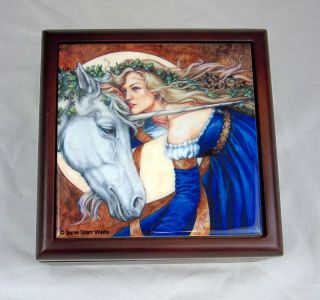 Tile Wood Jewelry Box Fairy Intertwined Unicorn Jane Star Wells