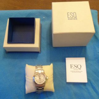 Esq Mens Watch Stainless Steel White Dial Mint in Box