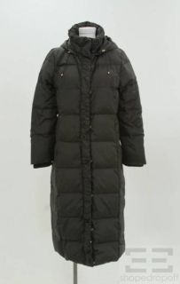 ellen tracy black zip front full length puffer coat size xl