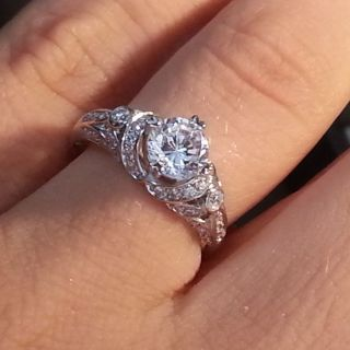 15 Carat Solitaire F w Accents Diamond White Gold 14k Engagement