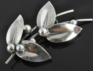 Niels Erik NE from Vintage Sterling Silver Denmark Modernist Leaf Pin