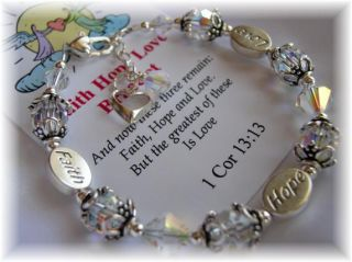 Faith Hope Love Inspirational Prayer Bracelet Jewelry