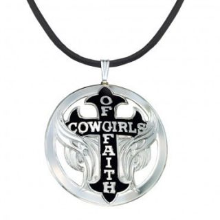 Montana Silversmiths Cowgirls of Faith Winged Cross Necklace Leather