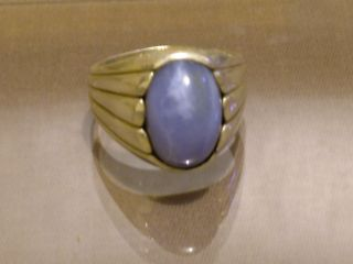 Rare 10ct Ellensburg Blue Agate Death Proof Silver Ring Size 12
