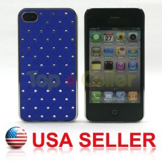 Bling Bling Luxury Crystal Diamond Hard Case Blue Cover for iPhone 4