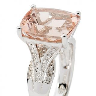 29ct Peach Morganite and Diamond Sterling Silver Cushion Cut Ring at