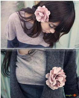 Women Sweet Fabric Flower Hair Clip Pin Brooch New 001