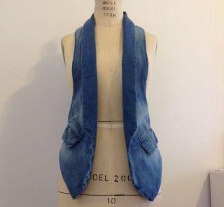 Current Elliot Cotton Womens Denim Vest 0 Light Blue