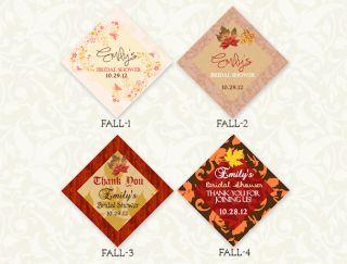 Fall Autumn Favor Thank You Tags Wedding Bridal Shower Custom Leaves