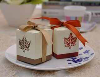 Maple Leaf Fall Elegant Autum Wedding Sweet Party Favor Boxes