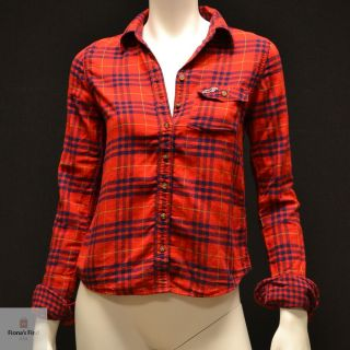 by Abercrombie Women Plaid Shirt Fallbrook Red Green Plaid