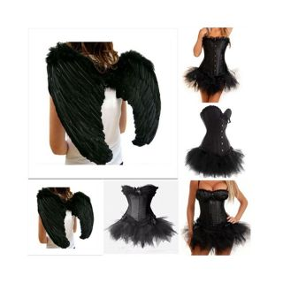 Black Dark Fallen Angel Fancy Dress Complet Outfit Corset Skirt