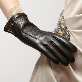 Black L Elma Womens Supple Nappa Leather Winter Warm Gloves Cashmere