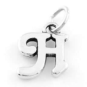 Sterling Silver 925 Fancy Letter H Charm Pendant