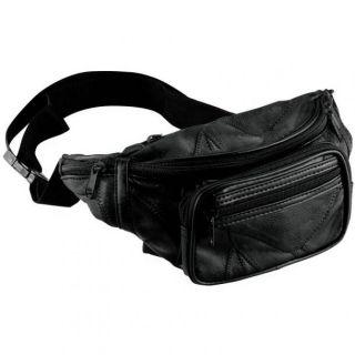 New Black Leather Waist Fanny Pack Belt Bag Pouch Travel Hip Purse