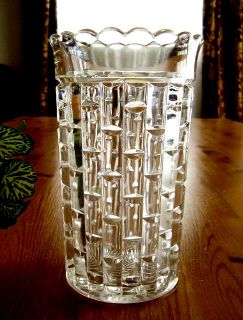 Cut Log Pattern Antique Glass Tall Celery Vase Ethol Cats Eye