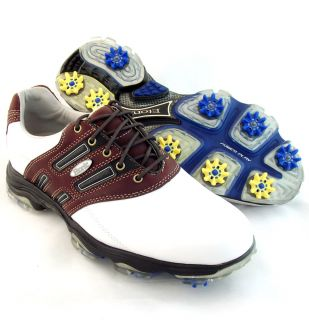 New Mens Etonic STABILIZER Golf Shoes Size 10 WIDE WHTE/BROWN
