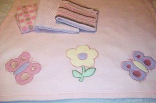 Pink Large Size Blanket Especially for Baby + 3 Pink Print Receiving